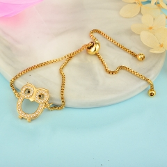 stainless steel adjustable chain copper zircon charms bracelet TTTB-0118