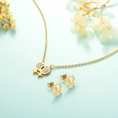 Manufacture ladies jewellery, Stainless Steel Jewelry Set 18k Gold Jewelry Wholesale  XXXS-0226