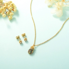 popular cubic zirconia brass charm stainless steel jewelry set  XXXS-0255A