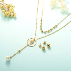 gold plated lucky eye necklace double layer necklace set for women  STAO-2452